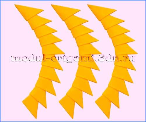 Модули оригами - цвет канареечно-желтый