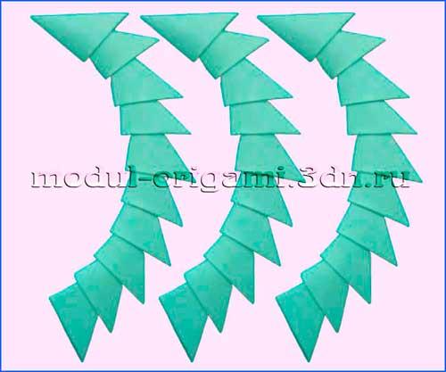 Модули оригами - цвет зеленый